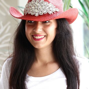 Rhinestone Flower Design Cowboy Hat