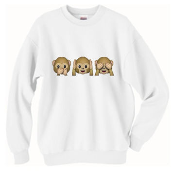 Monkey Emojis See No Evil Oversized Sweater