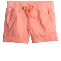 Colored Knit Waist Woven Shorts