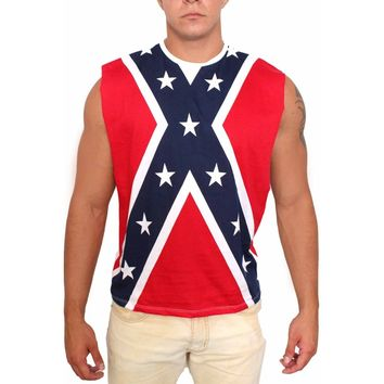 Confederate Rebel Flag Open Side Sleeveless Shirt