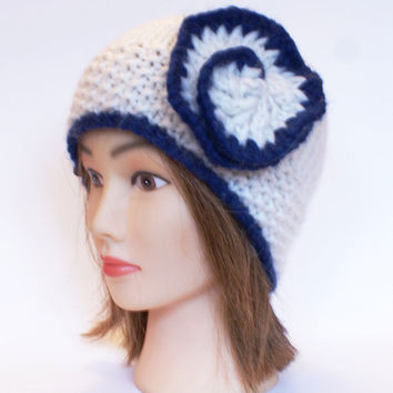 Beanie hat with flower knitted white and navy 100% wool beanies with flowers for women adults teenagers Irish chunky knit hats