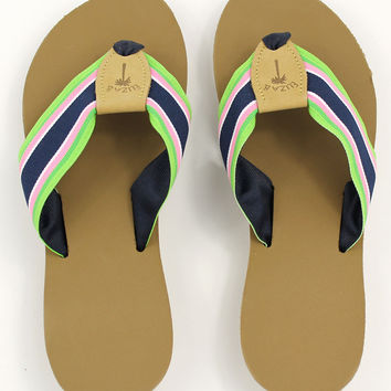 Ribbon Sandal in New Navy Stripe by Eliza B.