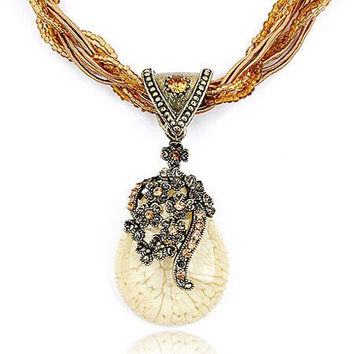 "The 27"" Rita Bohemian Style Seed Bead Crystal Encrusted Pendant Sweater Statement Necklace"