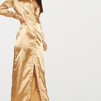 Camel Satin Utility Maxi Dress