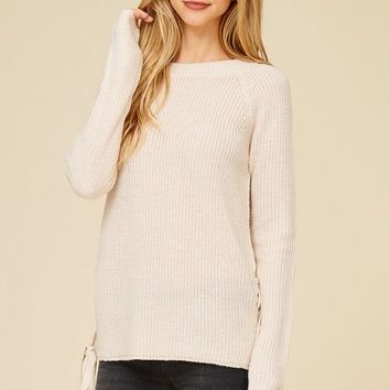 Side Lace Up Sweater - Oatmeal