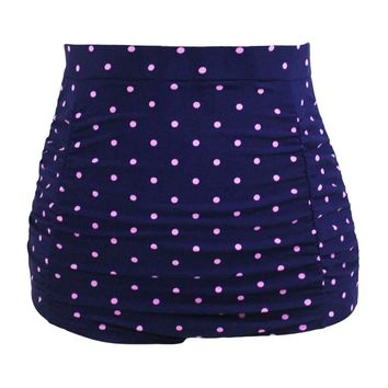 Polka Dot Print Retro High Waist Swim Bottom