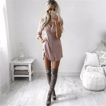 Winter Women Shirt Dress Turn Down Collar Women