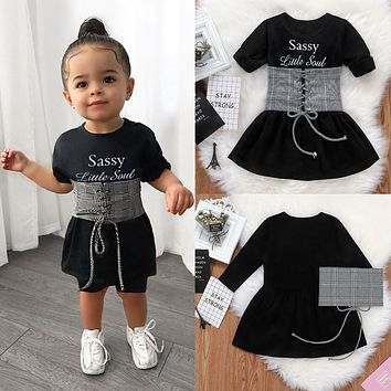 US Cute Kids Baby Girls Long Sleeve Dress+Lace Up Vest Party Dresses Outfits Set
