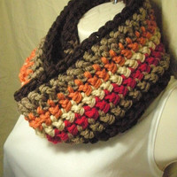 Autumn Fall Striped Cowl Infinity Circle Scarf Neckwarmer