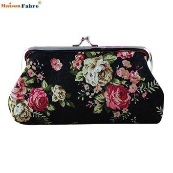 ESBONFI Naivety 2016 New Lady Vintage Flower Small Wallet Women Hasp Coin Purse Clutch Bag Good For Gift JUL28 drop shipping