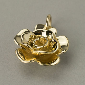 Solid Gold Tea Rose Necklace. Engraveable Personalized Jewelry. Available in 14k/18k yellow, rose and white gold.