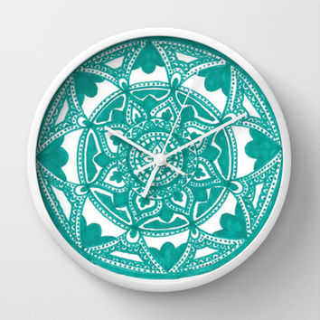 Turquoise Medallion Wall Clock by Brenna Whitton