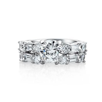 2CT Solitaire AAA CZ Wedding Baguette Band Engagement Ring Set