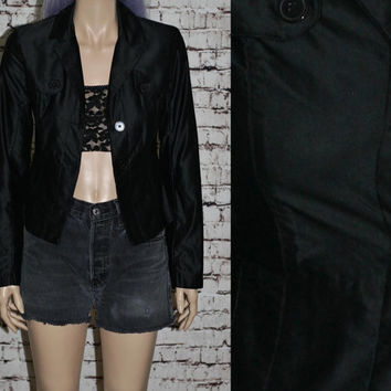 90s Cropped Trench Jacket Hipster Goth Cyber Punk Rave Club Kid Boho Gypsy Witch Witchy Festival XS S  blazer shinny blazer coat 70s