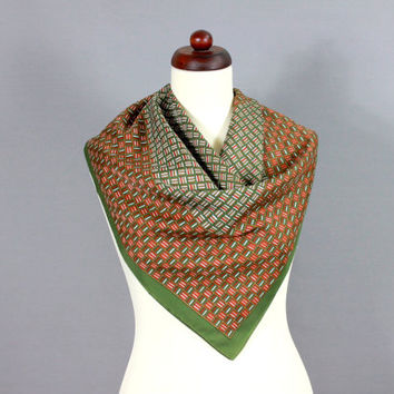 Vintage MOD Scarf OP ART Geometric Print Scarf Psychodelic Olive Green Copper Red Burgundy Green 60s Sixties
