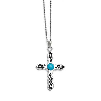 Stainless Steel Polished Imitation Turquoise Antiqued Cross Necklace SRN1343