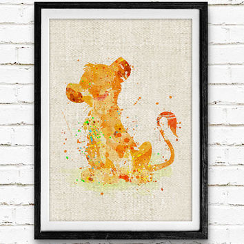 Simba Lion King Watercolor Print, Disney Baby Boy Nursery Decor, Wall Art, Home Decor, Gift Idea, Not Framed, Buy 2 Get 1 Free!