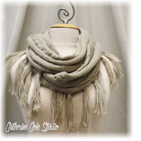 TAOS TASSEL scarf desert taupe cozy Knitted Shawl infinity Scarf tassels scarves unique knit womens cowl scarf Catherine Cole Studio SC26