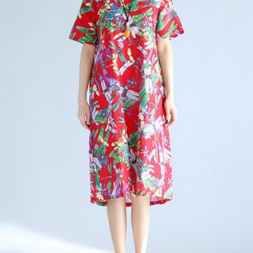 Streetstyle  Casual Round Neck Dragonfly Printed Cotton/Linen Maxi Dress