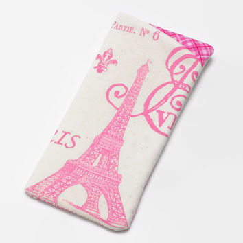 Sunglasses Case, Eyeglass Case, Glasses Case in Pink Paris Eiffel Tower Fabric