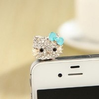 MoMo Store Crystal Rhinestones Hello Kitty Earphone Jack/Dust Plug for Iphone 4, 4s, Samsung / HTC / All Device with 3.5mm Jack Blue (US seller)