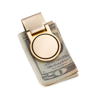 Gold Plated Hinged Money Clip.