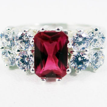 Ruby and CZ Accented Sterling Silver Ring Emerald Cut, July Birthstone Ring, Ruby Engagement Ring, Emerald Cut Ruby Ring, 925 Ruby Ring