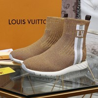 LV Louis Vuitton Women Fashion gold socks High Top Mid Boots with strings Shoes Winter Autumn best quality