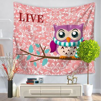 Indian Mandala Cute Owl Printed Wall Hanging Tapestry Beach Throw Mat Hippie Bedspread Gypsy Yoga Mat Blanket Tippet