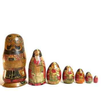 Antique 19th Century Japanese Samurai Warriors Nesting Doll