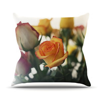"Beth Engel ""Sweet Reminder"" Flowers Yellow Throw Pillow, 18"" x 18"" - Outlet Item"