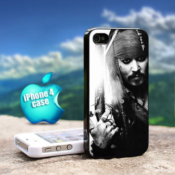 Pirates of Carabian - Jack Sparrow For iPhone 4 / 4s Black Case