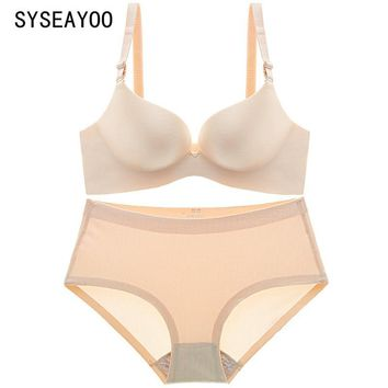 A small drawing without a bra steel ring thickness gather chip seamless underwear sexy ladies bra set