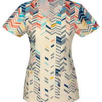 Chevron Print Scrub Top for Women