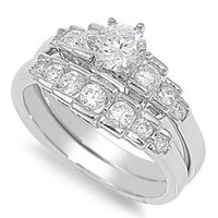Sterling Silver Round Cut Cubic Zirconia Bar-Set CZ Engagement Bridal Ring Set