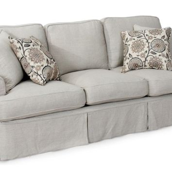 "Horizon Slipcovered 88"" Sofa, Light Gray"