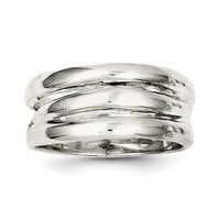Sterling Silver Solid Fancy Ribbed Ring