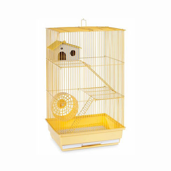 Prevue Hendryx Three Story Live Animal Hamster And Gerbil Cage, Color - Yellow