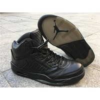 Air Jordan Retro 5 Premium Triple Black Men Basketball Shoes 5s Black Leather Sports Sneakers With Shoes Box