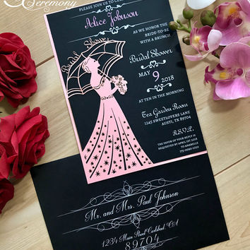 Bridal Shower laser cut invitation bride with umbrella with custom wording