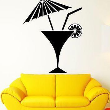 Wall Decal Drink Alcohol Party Bar Cocktail Glass Vinyl Stickers Art Mural Unique Gift i2581