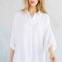 BDG Oversized Drop-Shoulder Button-Down Shirt- White