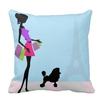 Shopping in Paris Decorative Pillow