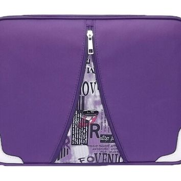 Waterproof Laptop Sleeve Case For All 13-Inch PU Leather Laptop Bag PURPLE