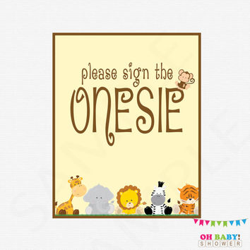 Please Sign the Onesuit, Safari Baby Shower, Guestbook Alternative, Printable Games, Jungle Baby Shower Games, Gender Neutral Baby, BS0001-N