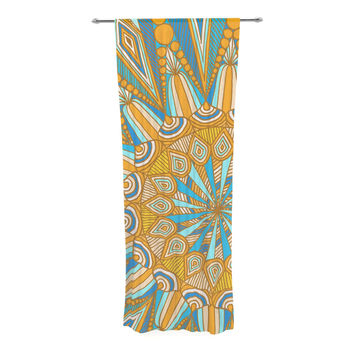 "Art Love Passion ""Here Comes The Sun"" Blue Yellow Decorative Sheer Curtain"