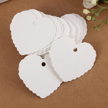 New Fashion 3 colors 50pcs/set Blank Heart Shape Craft Paper Hang Tag Wedding Party Label Price Gift Cards Decoration Bookmark