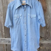 70s Wrangler Checked Short Sleeve Rockabilly Western Shirt, Men's L // Vintage Cowboy Shirt