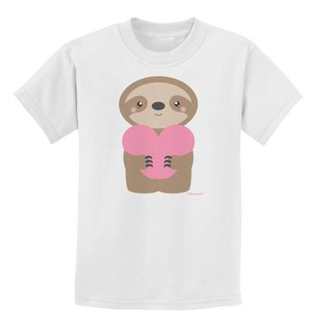 Cute Valentine Sloth Holding Heart Childrens T-Shirt by TooLoud