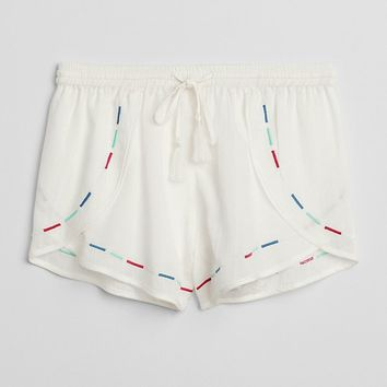 Dreamwell Embroidered Crinkle Shorts|gap